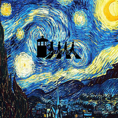 Fandom Painting - The Doctor Flying With Starry Night by Vika Chan