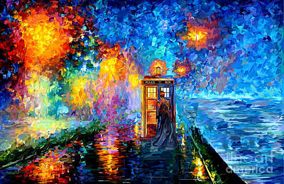Tardis Painting - The Doctor Lost In Strange Town by Three Second