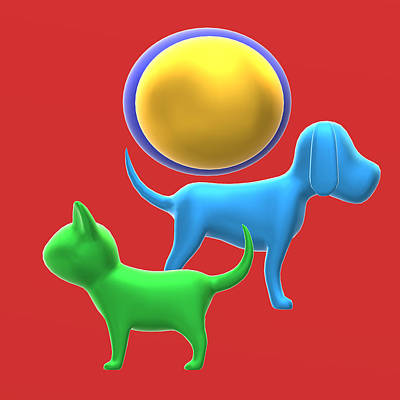Cats And Dogs Digital Art - The Cat And Dog Couple With Gold In The Mind by Pradyot Sahu