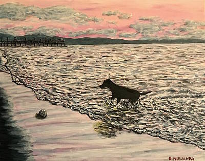 Dog Play Sea Painting - The Dog And Football by Robbie Nuwanda