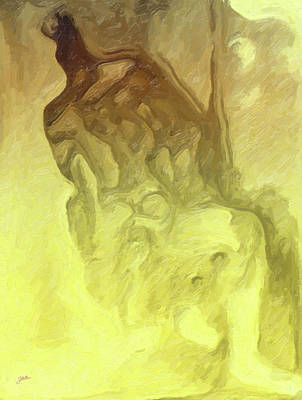 Dog Abstract Art Painting - The Dog Howls Man. by Joaquin Abella