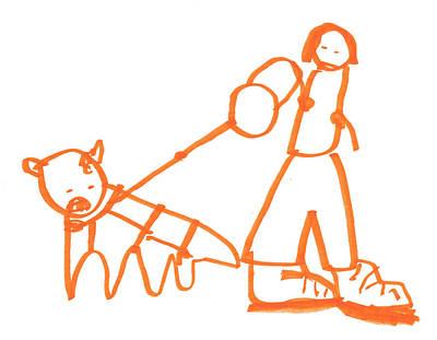 The Dog Is Barking On The Leash Art Print