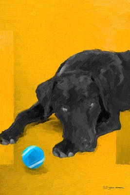 Digital Art - The Dog Park - Black Labrador Retriever Over Yellow Canvas by Serge Averbukh