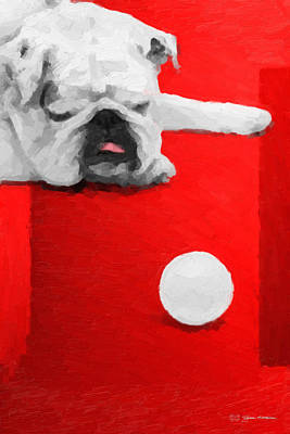 Digital Art - The Dog Park - White English Bulldog Over Red Canvas by Serge Averbukh