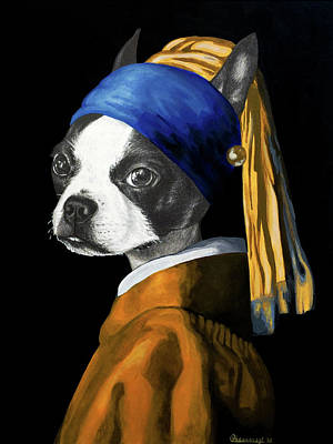 Painting - The Dog with a Pearl Earring by Courtney Kenny Porto