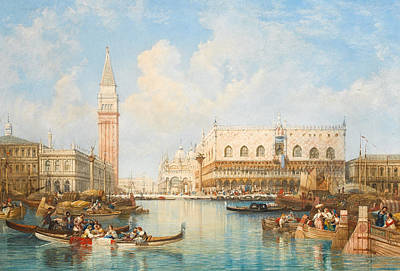 The Doge's Palace And Piazetta From The Lagoon, Venice Art Print by William Wyld