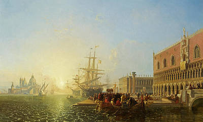 Italian Evening Painting - The Doge's Palace, Venice by William James Muller