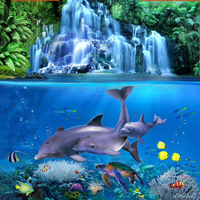 Clown Fish Digital Art - The Dolphin Family by Glenn Holbrook