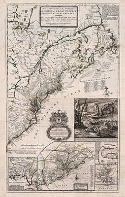 Drawing - The Dominions Of Great Britain In North America - Historic Map Of North America - Antique Maps by Studio Grafiikka
