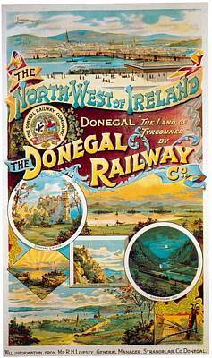 Train Mixed Media - The Donegal Railway - North West Of Ireland - Retro Travel Poster - Vintage Poster by Studio Grafiikka