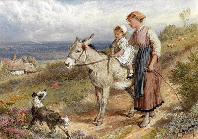 Buy Dog Art Drawing - The Donkey Ride by Myles Birket Foster