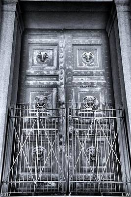The Door At The Parthenon In Nashville Tennessee Black And White Art Print