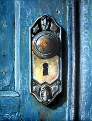Door Painting - The Door Knob by Leyla Munteanu