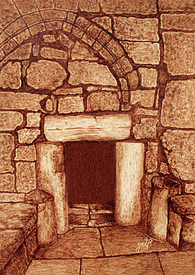 Painting - The Door Of Humility At The Church Of The Nativity Bethlehem by Georgeta Blanaru