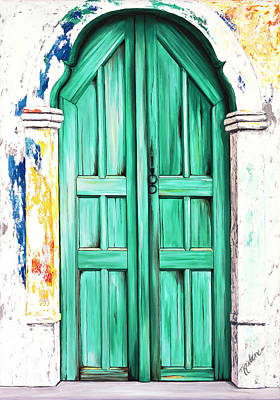 The Doors Of Santorini - Prints Of Original Oil Painting - Teal Art Print by Mary Grden's Baywood Gallery