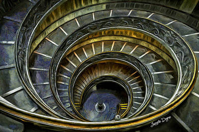 Michelangelo Digital Art - The Double Spiral - Da by Leonardo Digenio