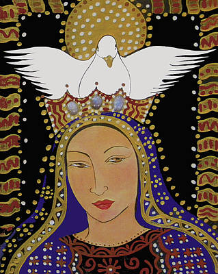 Religious Art Painting - The Dove And The Madonna by Christina Miller