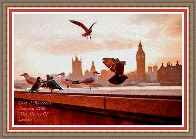 The Doves Of London H A With Decorative Ornate Printed Frame. Print by Gert J Rheeders