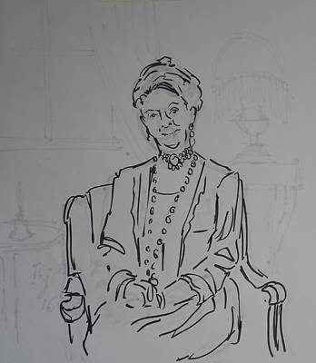 Drawing - The Dowager Countess In Her Drawing Room At Dowton Abbey by Mike Jory