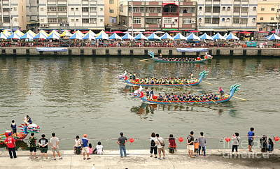 Photograph - The Dragon Boat Races In Taiwan by Yali Shi