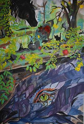 Painting - The Dragon In Majikal Forest by Susan Snow Voidets
