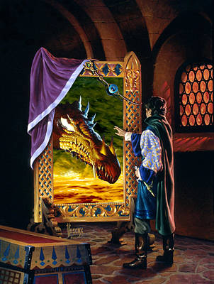 Knights Castle Painting - The Dragon Mirror by Richard Hescox