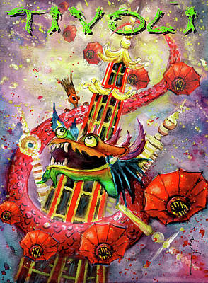 Painting - The Dragon Of Tivoli Gardens by Miki De Goodaboom