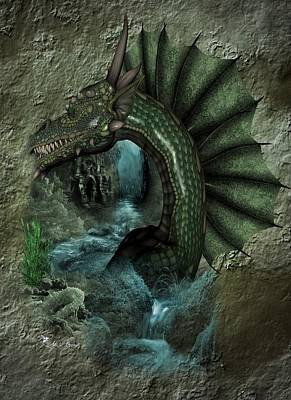 Digital Art - The Dragons Cave by Ali Oppy