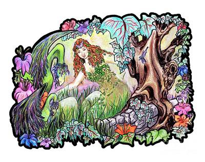 Fantasy Drawings - The Dragons Of Eden Easter Egg Hunt by Janice Moore
