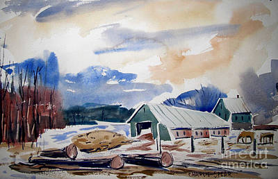 Winter Scenes Painting - The Draught Horses At The Sawmill by Charlie Spear