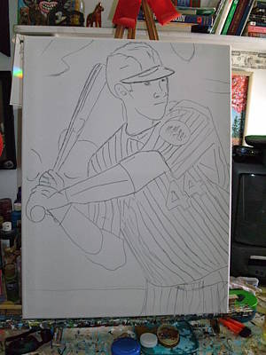 Baseball Drawings Mixed Media - The Drawing Of A Baseball Player by Becky Jenney