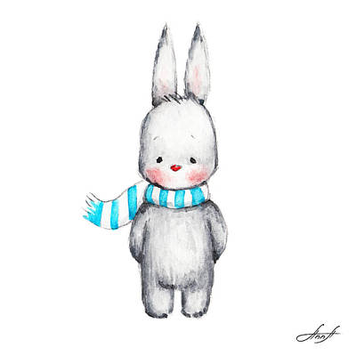 Baby New Year Painting - The Drawing Of Cute Bunny In Scarf by Anna Abramska