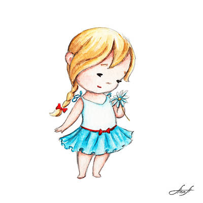 Daisy Drawing - The Drawing Of Little Girl With A Daisy by Anna Abramska