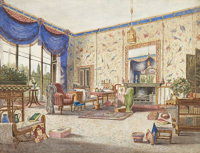 Drawing - The Drawing Room At Middleton Park, Oxfordshire by William Alfred Delamotte