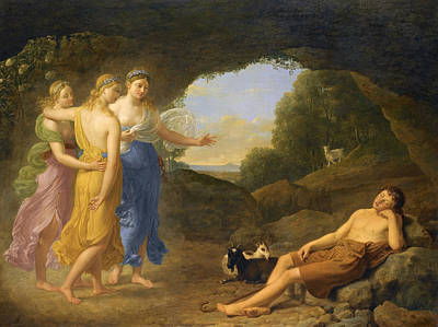Safe Return Painting - The Dream Of Daphnis In Which The Nymphs Foretell The Safe Return Of Chloe by Joseph Francois Ducq