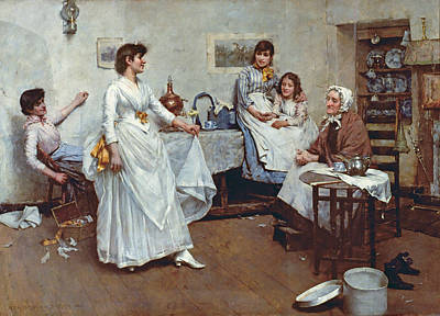 Grandmother Painting - The Dress Rehearsal by Albert Chevallier Tayler