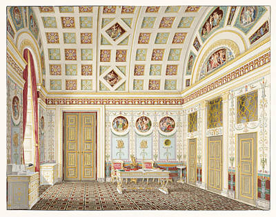 Drawing - The Dressing Room Of King Ludwig I At The Munich Residence Palace by Franz Xaver Nachtmann