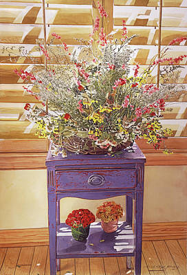 Basket Painting - The Dried Basket Arrangement by David Lloyd Glover