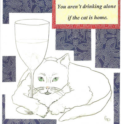 Painting - The Drinking Cat by Georgia Donovan