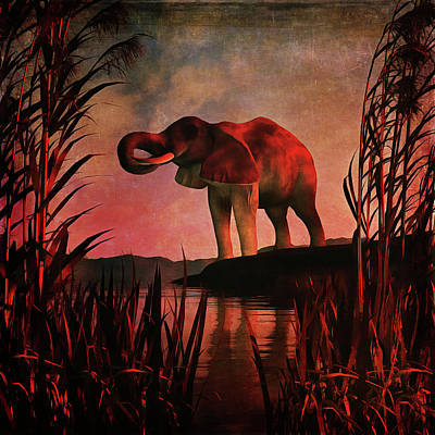 Reeds Painting - The Drinking Elephant by Jan Keteleer