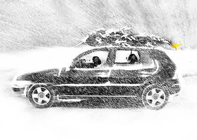 Dog Christmas Card Digital Art - The Drive by Melody Carranza
