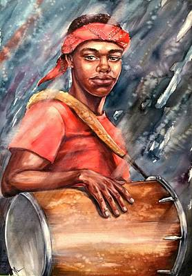 Painting - The Drummer by Katerina Kovatcheva