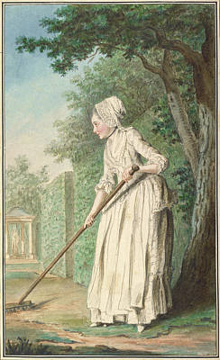 Duchess Painting - The Duchess Of Chaulnes As A Gardener In An Allee by Louis Carrogis de Carmontelle