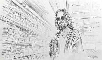 Drawing - The Dude Abides by Michael Morgan