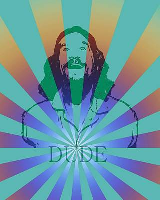 Jeff Mixed Media - The Dude Pyschedelic Poster by Dan Sproul