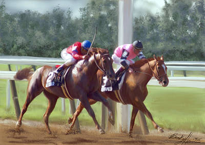 Kentucky Derby Painting - The Duel by Becky Herrera
