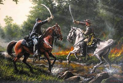War Horse Painting - The Duel by Dan  Nance