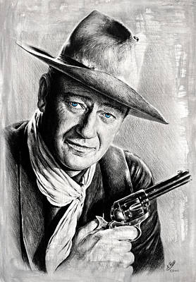 John Wayne Drawings Drawing - The Duke Grey Splash by Andrew Read