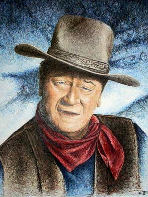 John Wayne Drawings Drawing - The Duke by Joey Smith