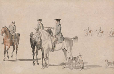 Painting - The Duke Of Cumberland With A Gentleman And A Groom, All Mounted, And Dogs by Paul Sandby
